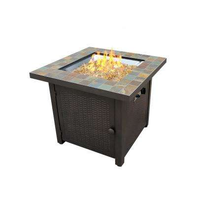 25 in. Square Slate Top Fire Pit