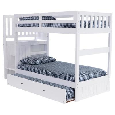 Casual White Collection White Twin OverTwin Staircase Bunk Bed with 4-Drawer Chest and Twin Sized Underbed Trundle