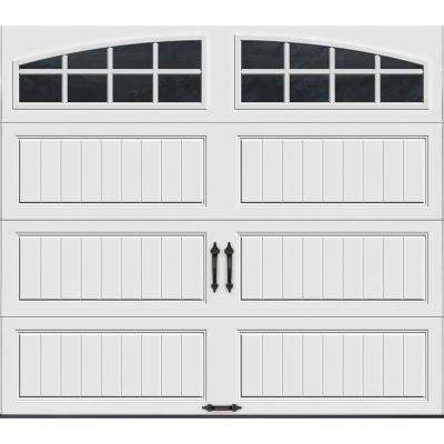 Gallery Collection 8 ft. x 7 ft. 18.4 R-Value Intellicore Insulated White Garage Door with Arch Window