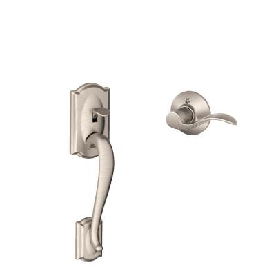 Camelot Satin Nickel Entry Door Handle with Left Handed Accent Door Lever