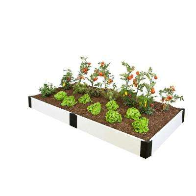 4 ft. x 8 ft. x 8 in. White Composite Raised Garden Bed Kit