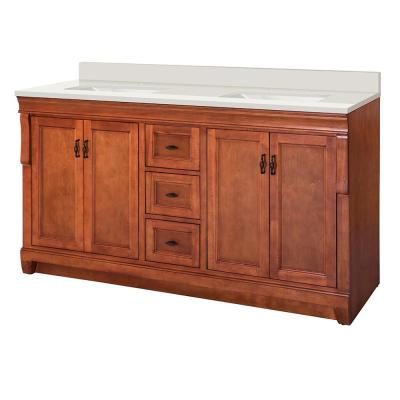 Naples 61 in. W x 22 in. D Vanity in Warm Cinnamon with Engineered Marble Vanity Top in Winter White with White Sink