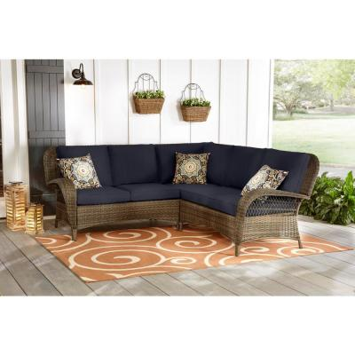 Beacon Park 3-Piece Brown Wicker Outdoor Patio Sectional Sofa with CushionGuard Midnight Navy Blue Cushions