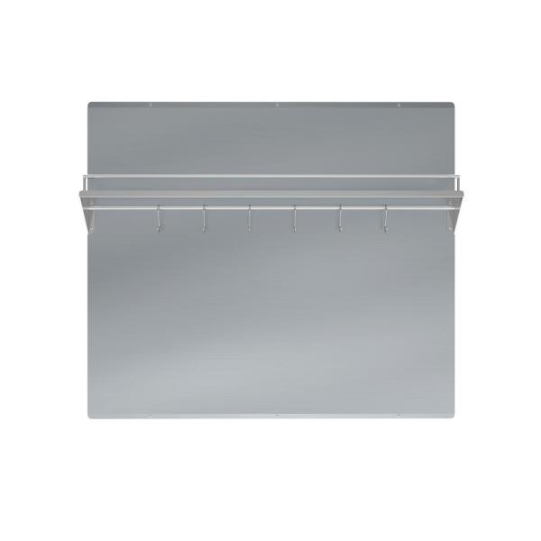 36 in. x 30 in. Stainless Steel Backsplash with Shelf and Rack in Stainless Steel
