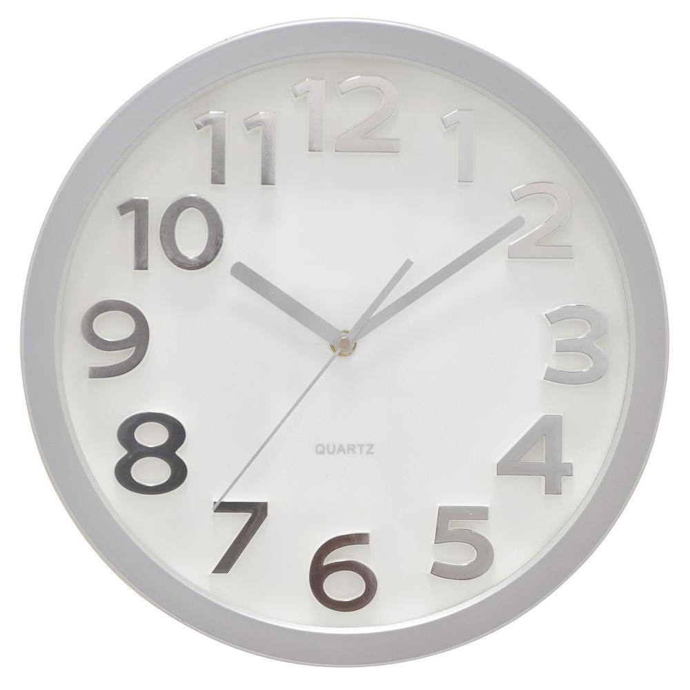 13 in. Matte Silver Wall Clock