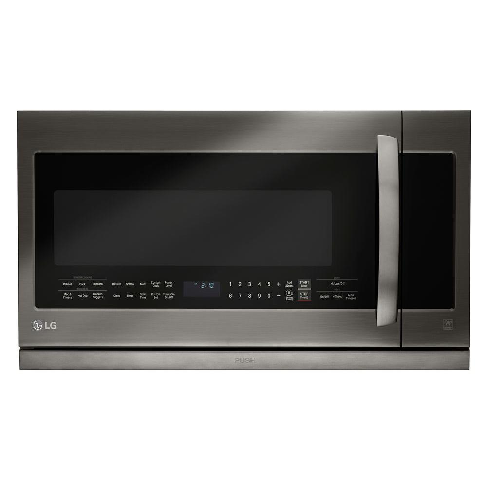 lg electronics 2 2 cu ft over the range microwave in black stainless steel with sensor cook. Black Bedroom Furniture Sets. Home Design Ideas