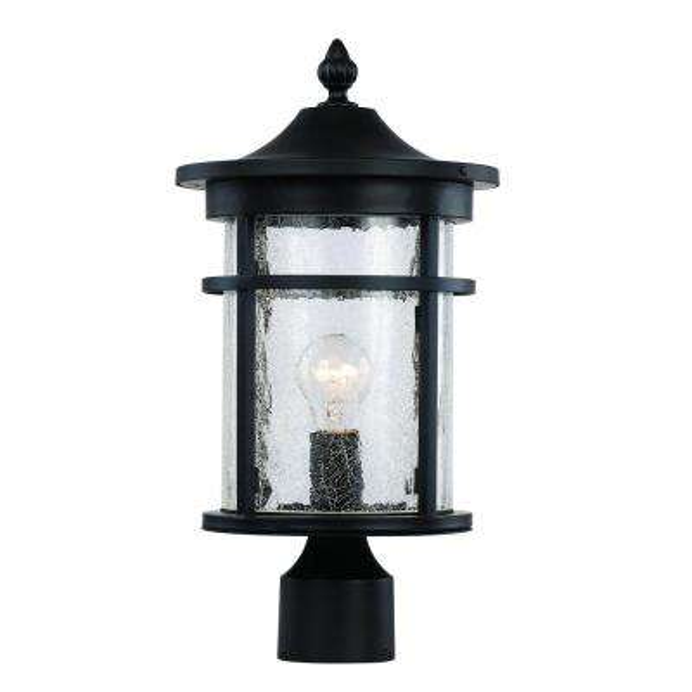 1-Light Black Outdoor Crackled Outdoor Post Lantern