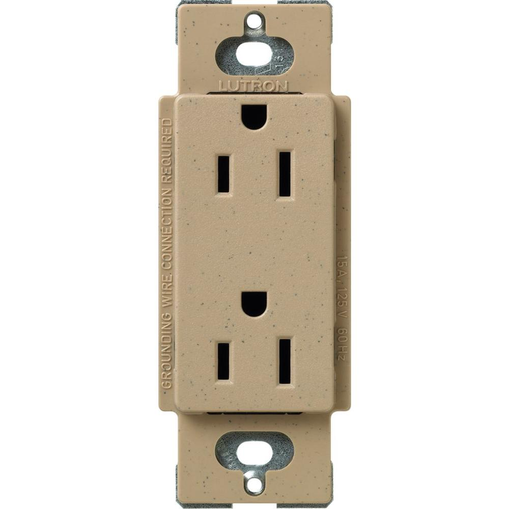 Surface Mount Electrical Outlets Receptacles Wiring Devices Double Duplex Outlet Satin Colors 15 Amp Tamper Resistant Receptacle Mocha Stone