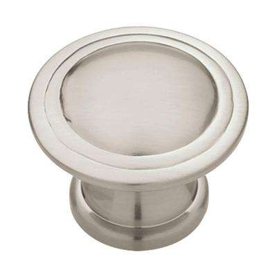 Ridge 1-1/8 in. (28mm) in. Satin Nickel Round Cabinet Knob