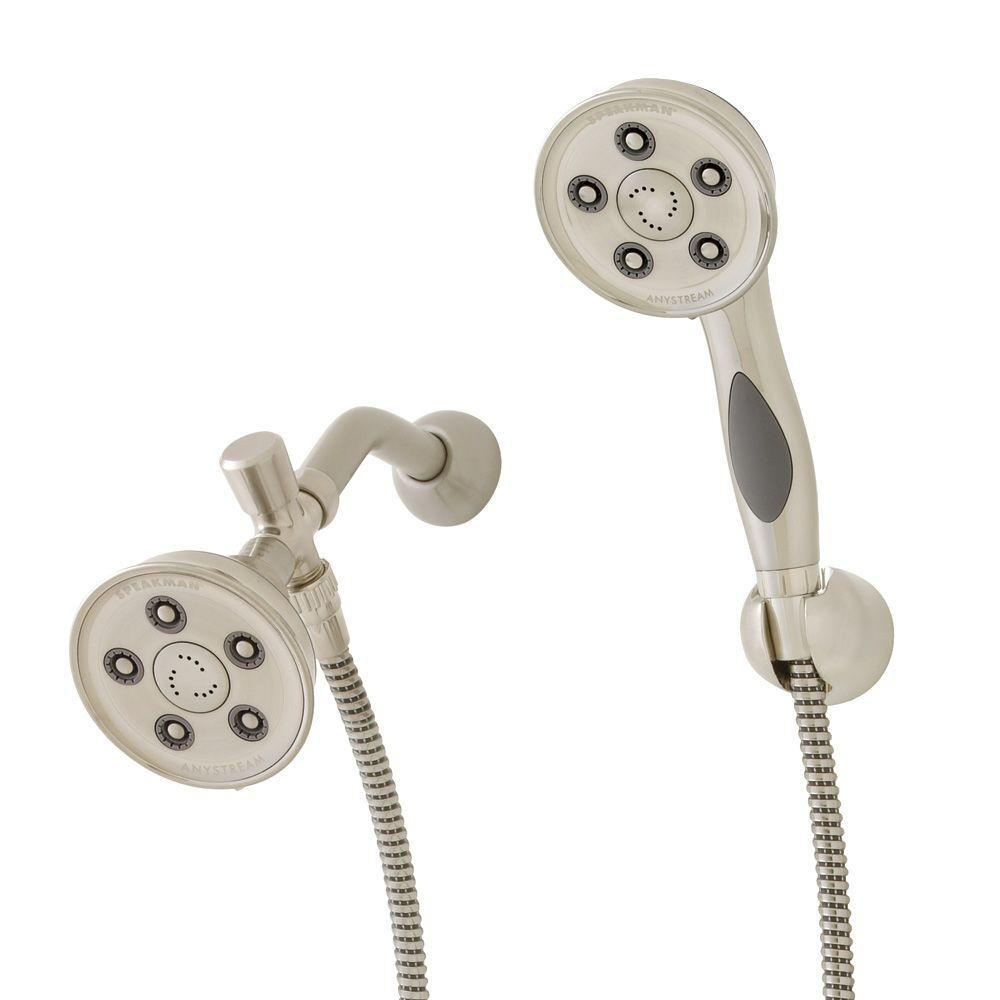 3-spray 3.75 in. High PressureDual Shower Head and Handheld Shower Head in Brushed Nickel