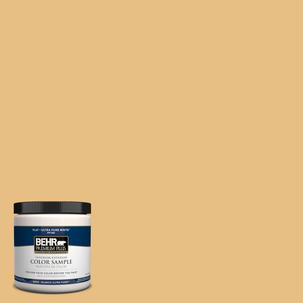 BEHR Premium Plus 8 oz. #PPH-09 Piedra De Sol Flat Zero VOC Interior/Exterior Paint and Primer in One Sample