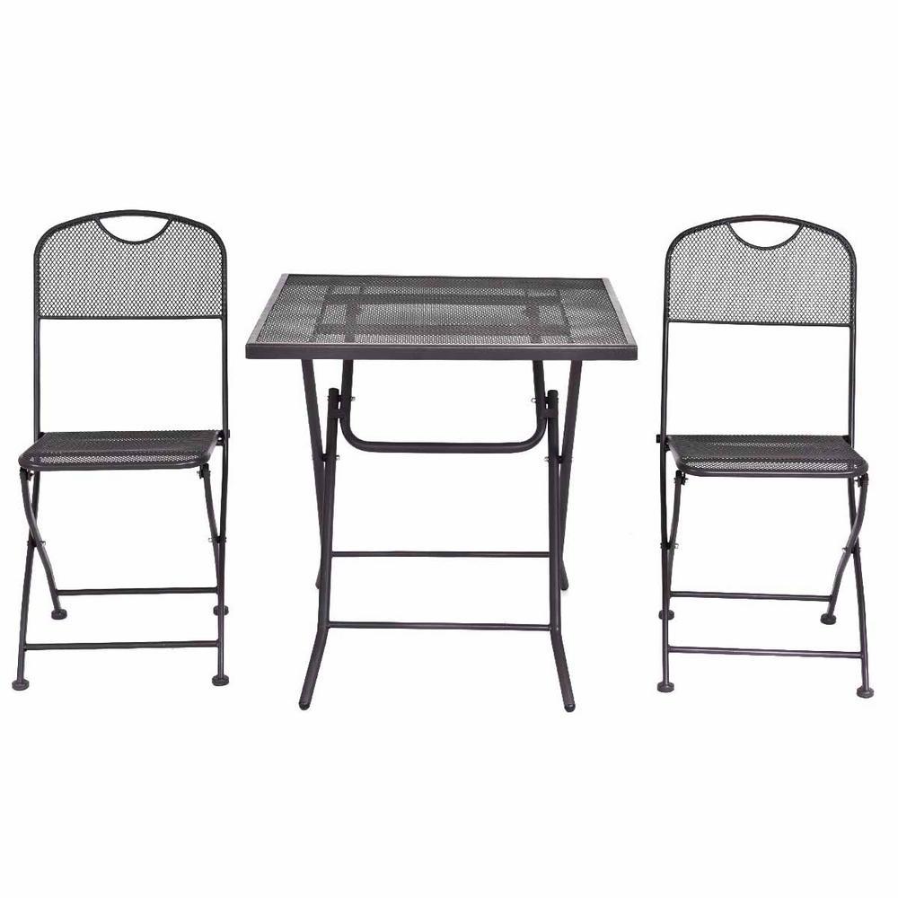 3-Piece Steel Mesh Frame Bistro Square Table Outdoor Patio Bistro Set