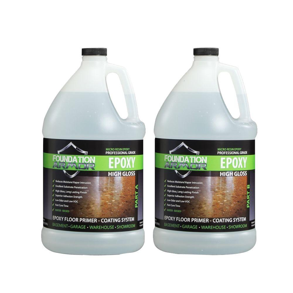 Foundation Armor Epoxy 2 gal. Water-Based Clear High Gloss 2-Part Epoxy Primer and Top Coat for Concrete Floors