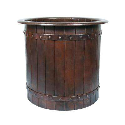3.33 ft. Hammered Copper Japanese Style Barrel Strap Soaker Flatbottom Non-Whirlpool Bathtub in Oil Rubbed Bronze