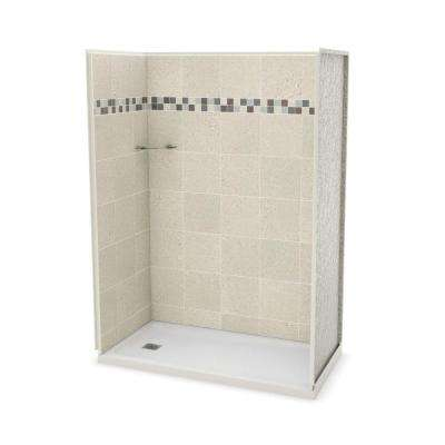 Utile Stone 32 in. x 60 in. x 83.5 in. Alcove Shower Stall in Sahara with Left Drain Base in White