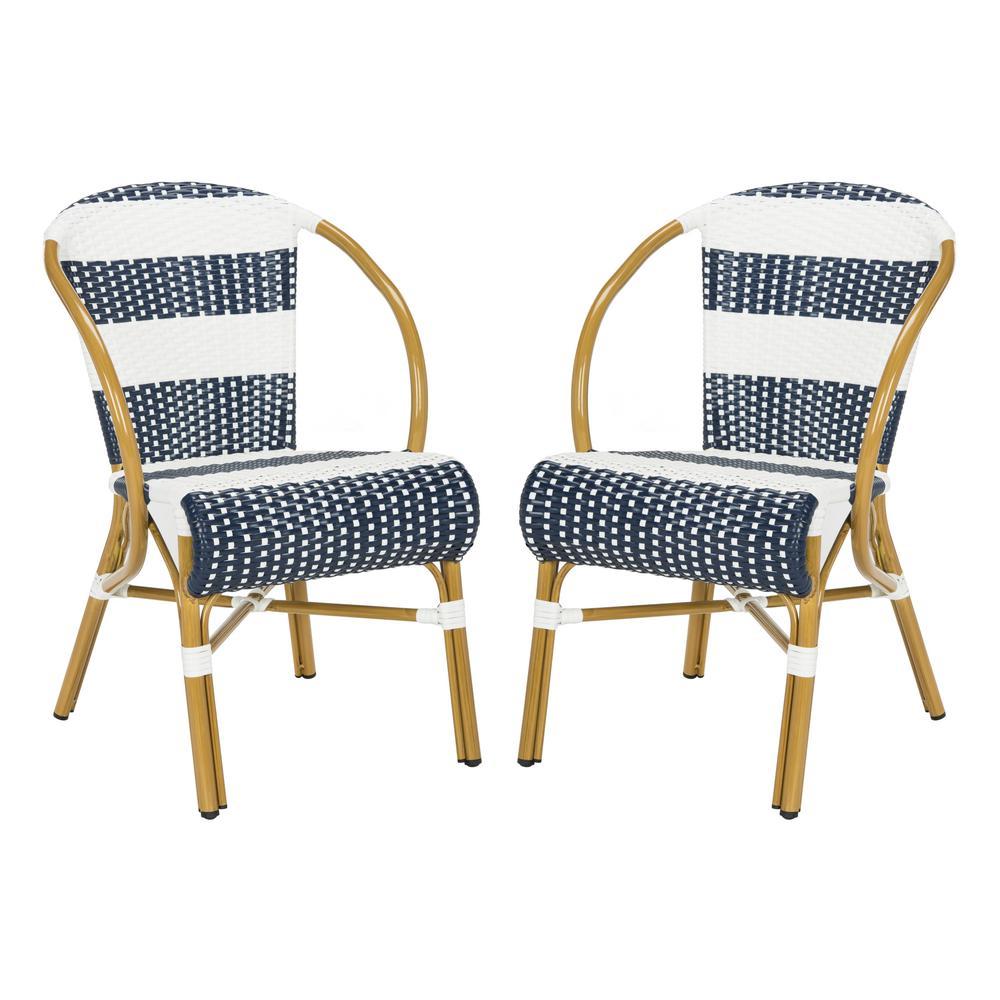 Marvelous Safavieh Sarita Stacking Aluminum Outdoor Dining Chair In Navy And White Set Of 2 Inzonedesignstudio Interior Chair Design Inzonedesignstudiocom