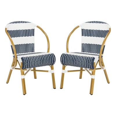 Sarita Navy/White Stackable Aluminum/Wicker Outdoor Dining Chair (2-Pack)
