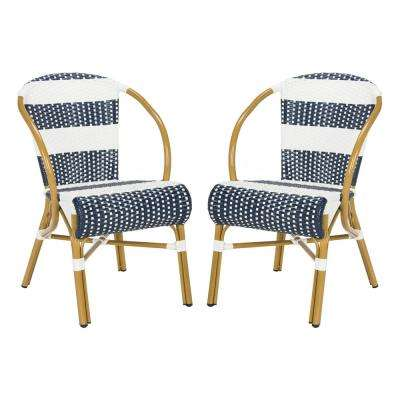 Sarita Stacking Aluminum Outdoor Dining Chair in Navy and White (Set of 2)