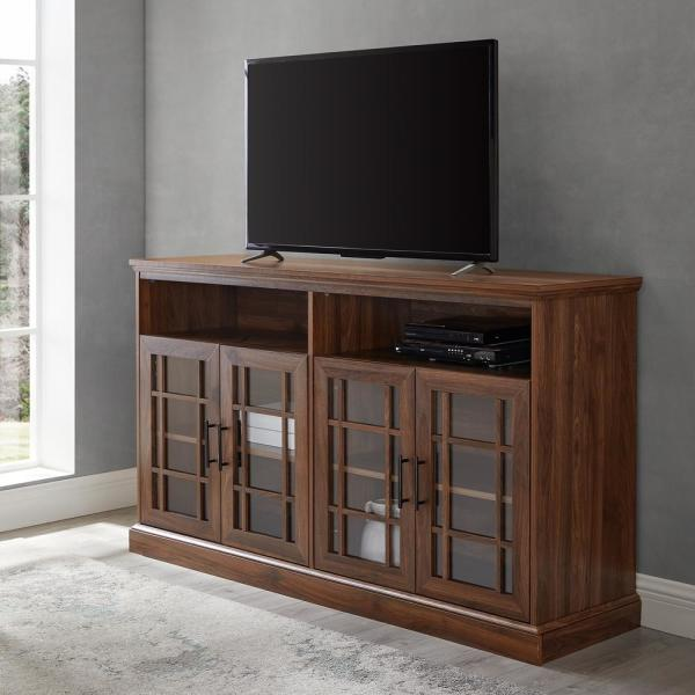 58 in. Dark Walnut Wood TV Stand Fits TVs Up to 64 in. with Storage Doors