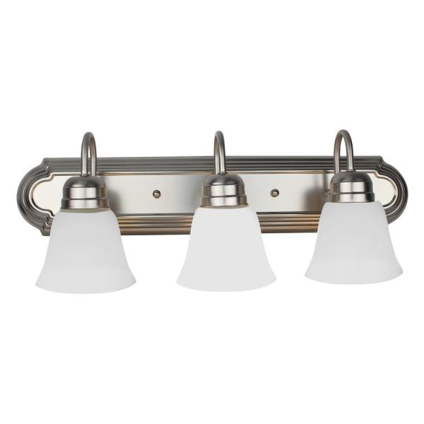 24 in. 3-Light Brushed Nickel Vanity Light with Alabaster Glass Shade