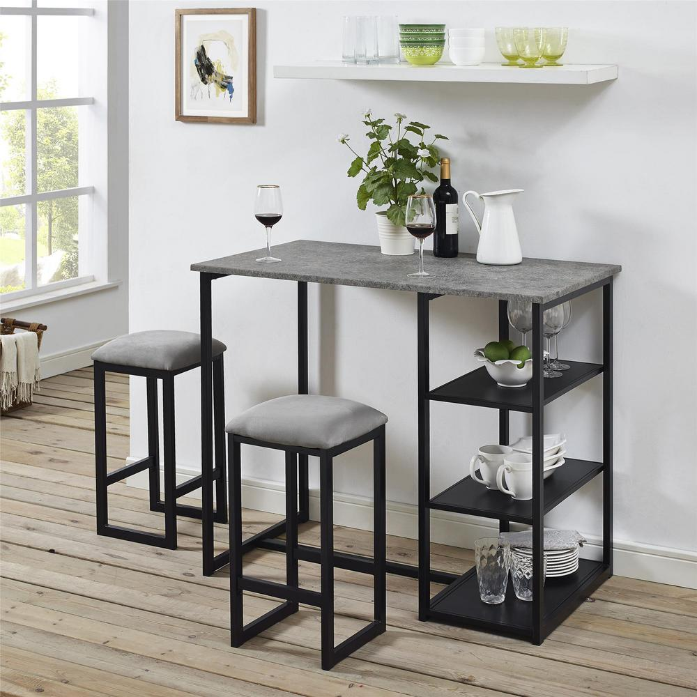 Dorel Living Jimi 3 Piece Gray Black Pub Set With Faux Concrete Top