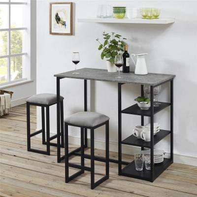 Jimi 3 Piece Gray Black Pub Set With Faux Concrete Top