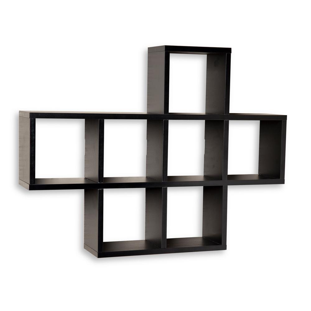 DANYA B 31 in. x 23 in. Black Laminated Cubby Shelf