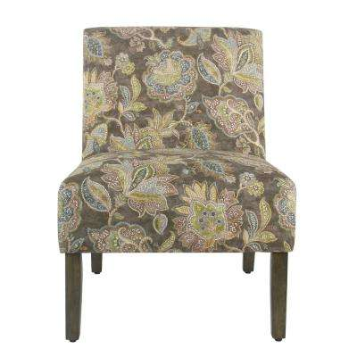 Gray Jacobean Floral Carson Armless Accent Chair