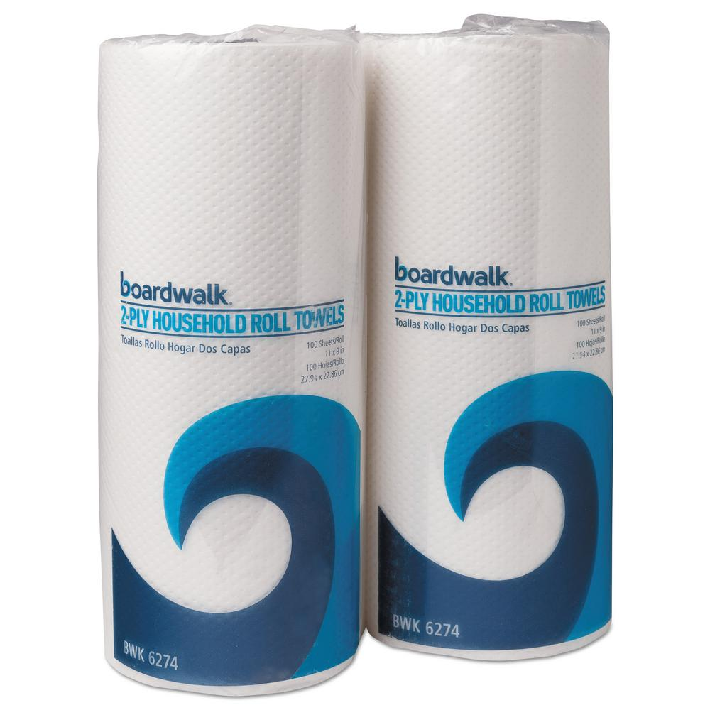 Boardwalk 9 in. x 11 in. 2-Ply White Green Household Roll Towels (100/Roll, 30-Rolls/Carton) Perforated 2-ply towels for household use. Diamond quilt embossed design for excellent absorbency. Towel/Wipe Type: Household, Application: General Purpose, Hand Washing, Applicable Material: Countertops, Hands, Material(s): Paper. Color: White.