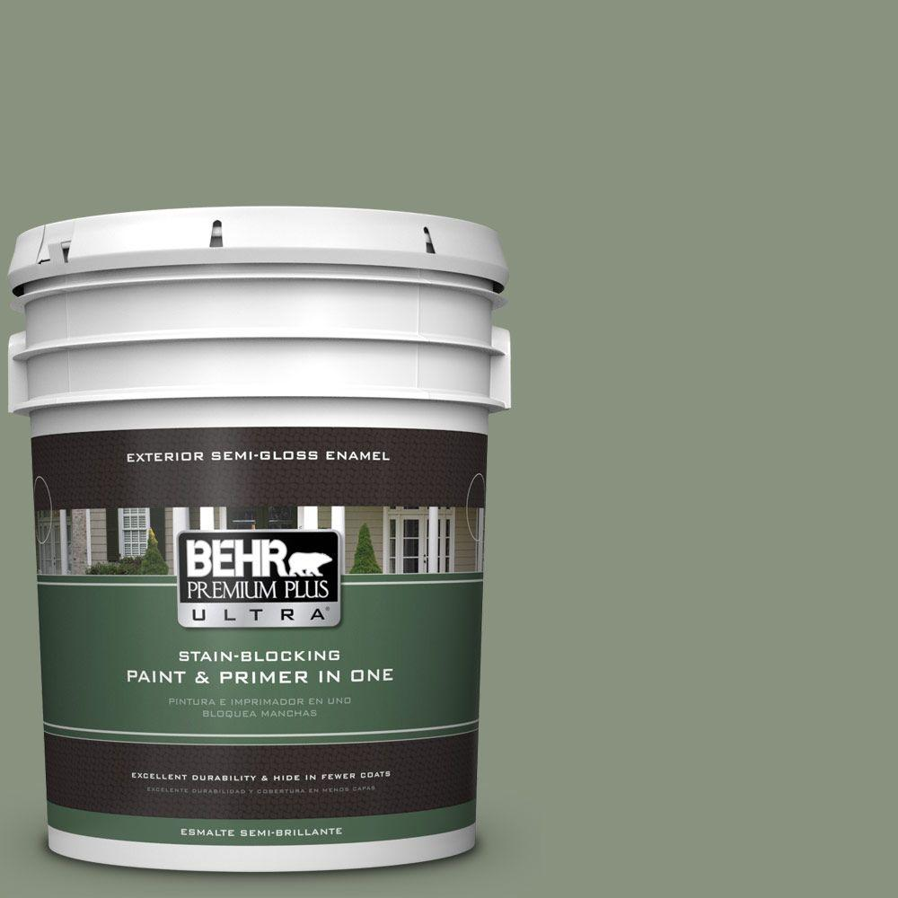 BEHR Premium Plus Ultra 5-gal. #N390-5 Eucalyptus Wreath Semi-Gloss Enamel Exterior Paint