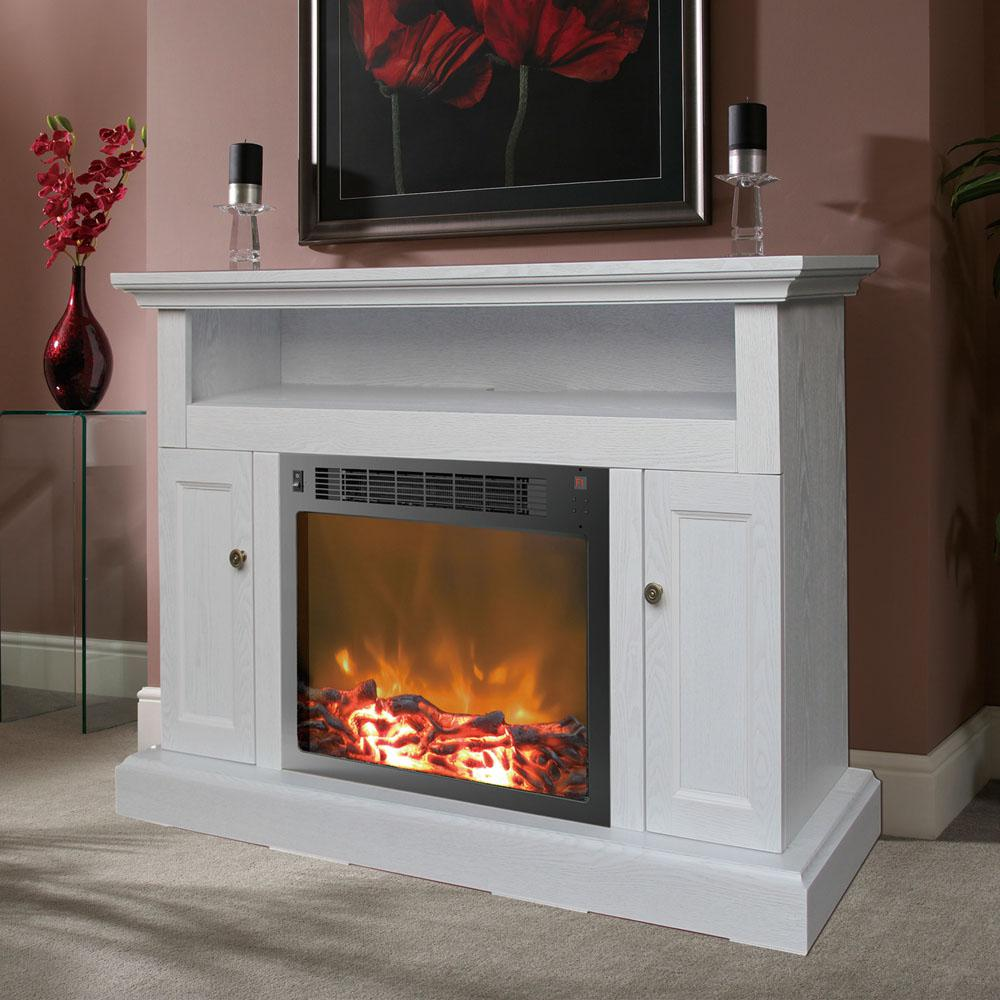 47 Inch Electric Fireplace White Remote Control Tv Stand