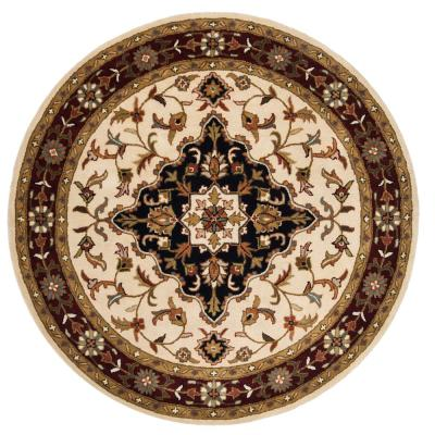 Heritage Ivory/Red 4 ft. x 4 ft. Round Area Rug