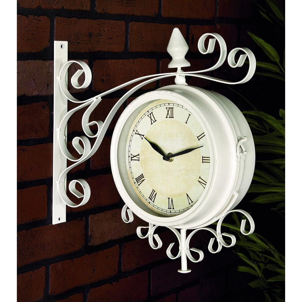 medieval india victoria station black u0026 gold 11x6x12 inch double sided wall clock doublesided metal hanging clock