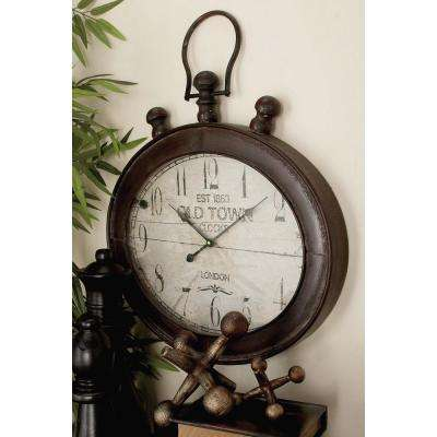 21 in. x 21 in. Vintage Stopwatch Style Oval Wall Clock