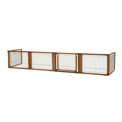 Elite 20.1 in. x 135.8 in. Low 6-Panel Wood Convertible Pet Gate in Brown