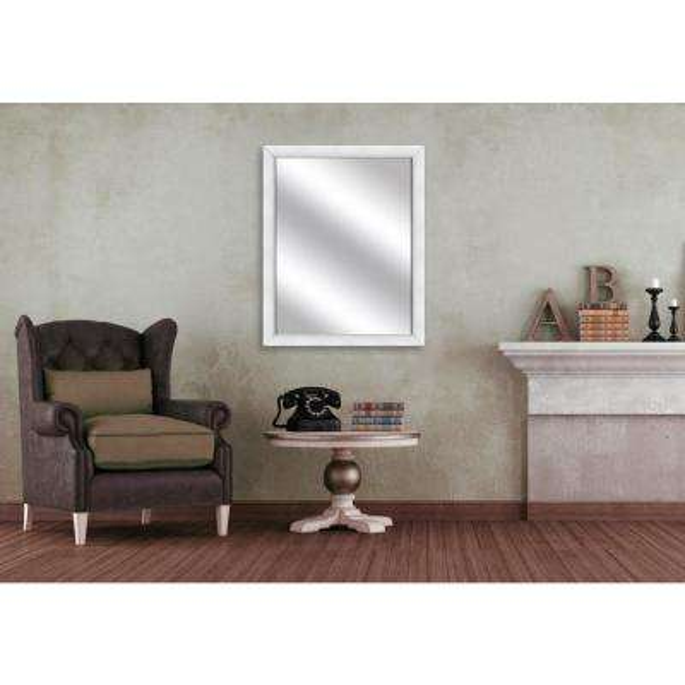 31.5 in. x 25.5 in. White Framed Mirror