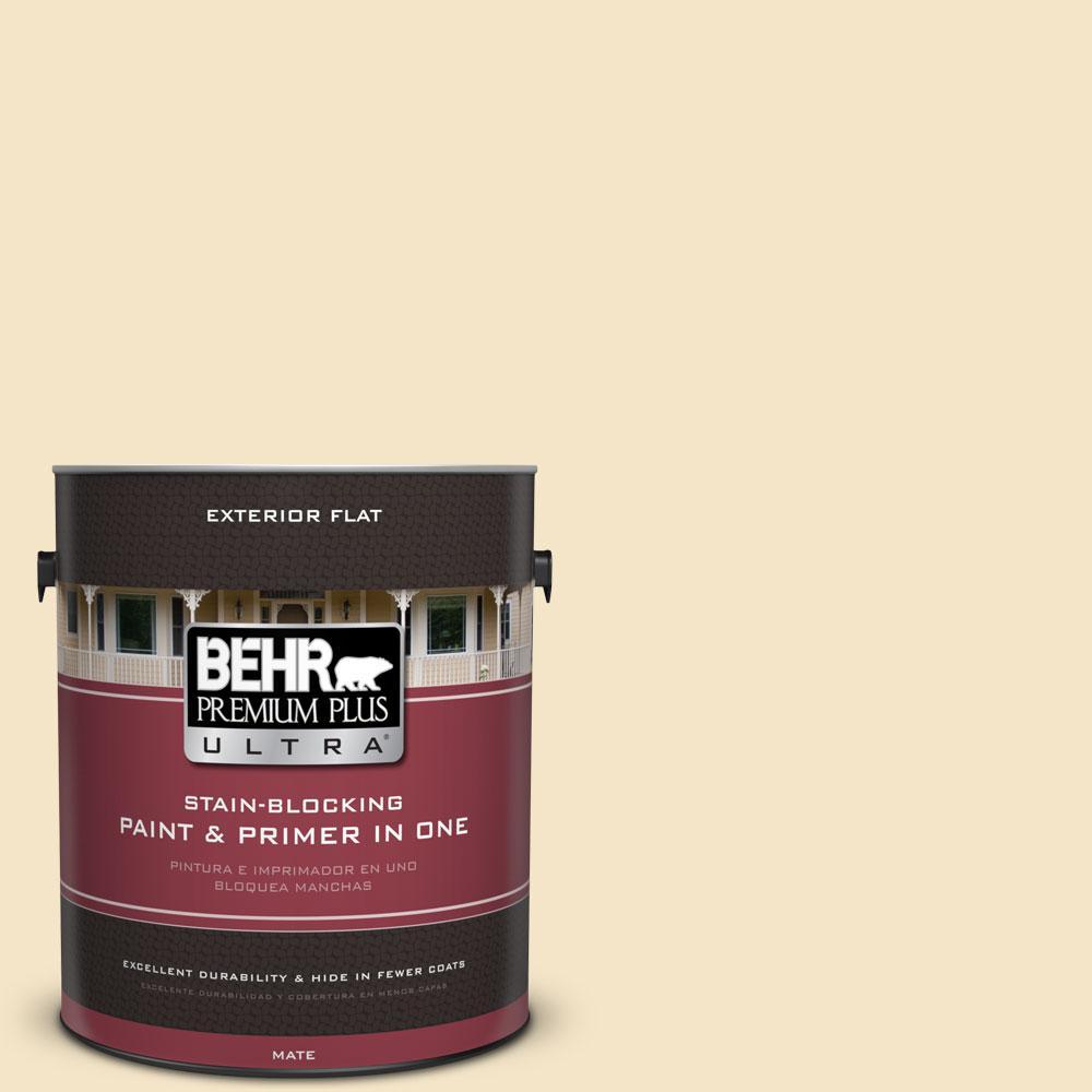 BEHR Premium Plus Ultra 1-gal. #340E-2 Cottonseed Flat Exterior Paint