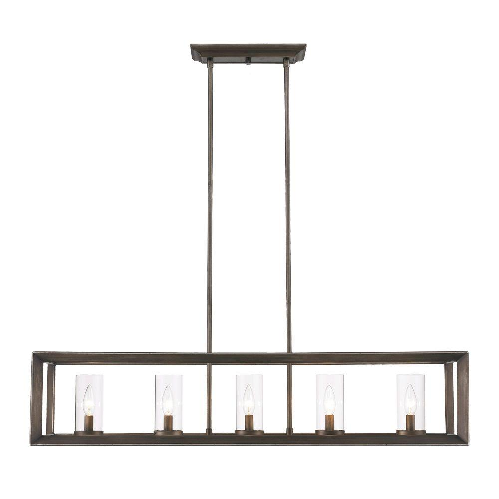 Caelan Collection 5 Light Gunmetal Bronze Island Pendant