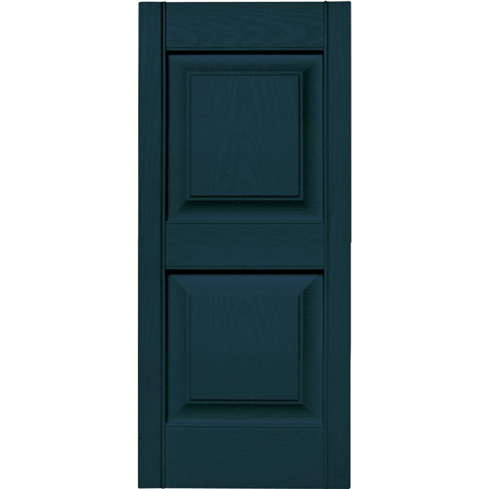 Builders Edge 15 in. x 35 in. Raised Panel Vinyl Exterior Shutters Pair in #166 Midnight Blue