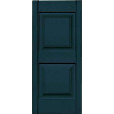 15 in. x 35 in. Raised Panel Vinyl Exterior Shutters Pair in #166 Midnight Blue
