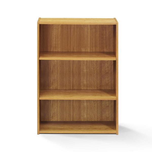Wright 35.28 in. Highland Oak Faux Wood 3-shelf Standard Bookcase with Adjustable Shelves