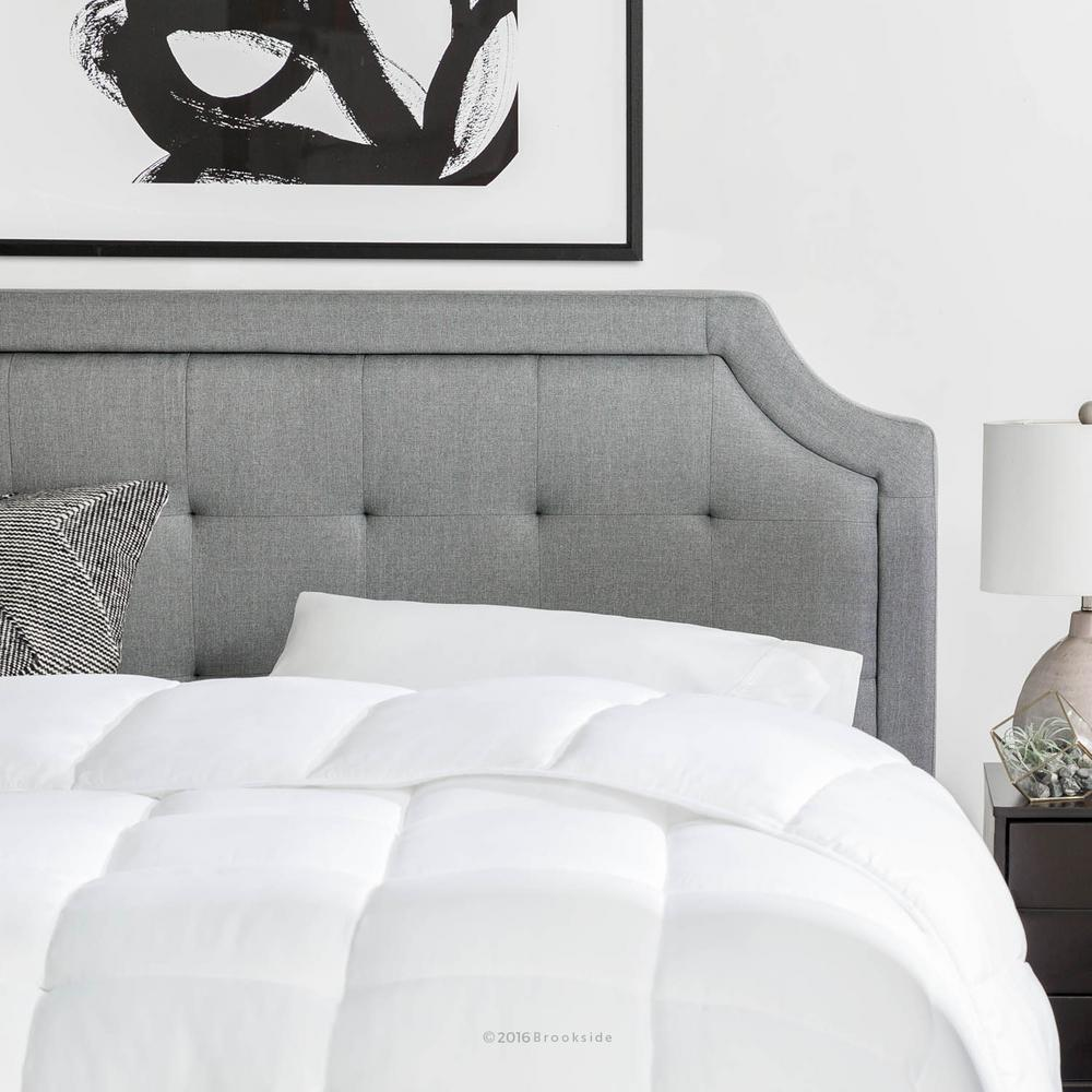 Upholstered Scoop-Edge King/Cal King Headboard with Square Tufting in Stone