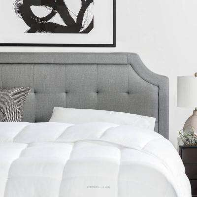 Upholstered Scoop-Edge Queen Headboard with Square Tufting in Stone