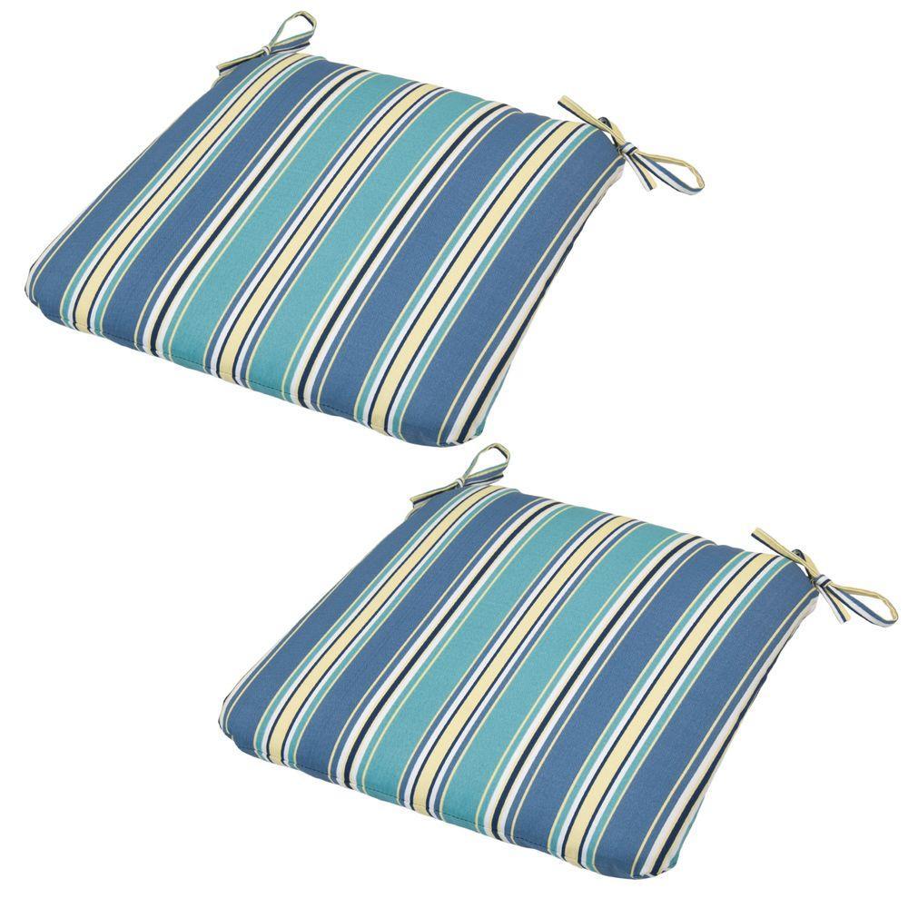 20 x 19 Outdoor Chair Cushion in Standard Rainforest Stripe (2-Pack)