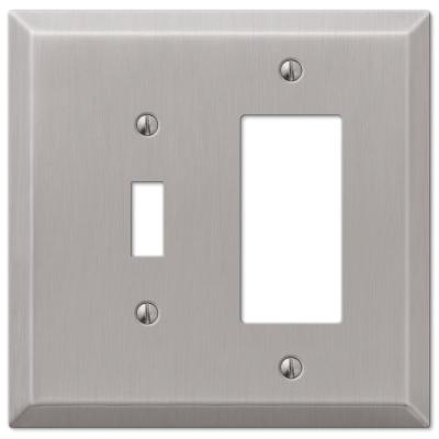 Oversized 2 Gang 1-Toggle and 1-Rocker Steel Wall Plate - Brushed Nickel