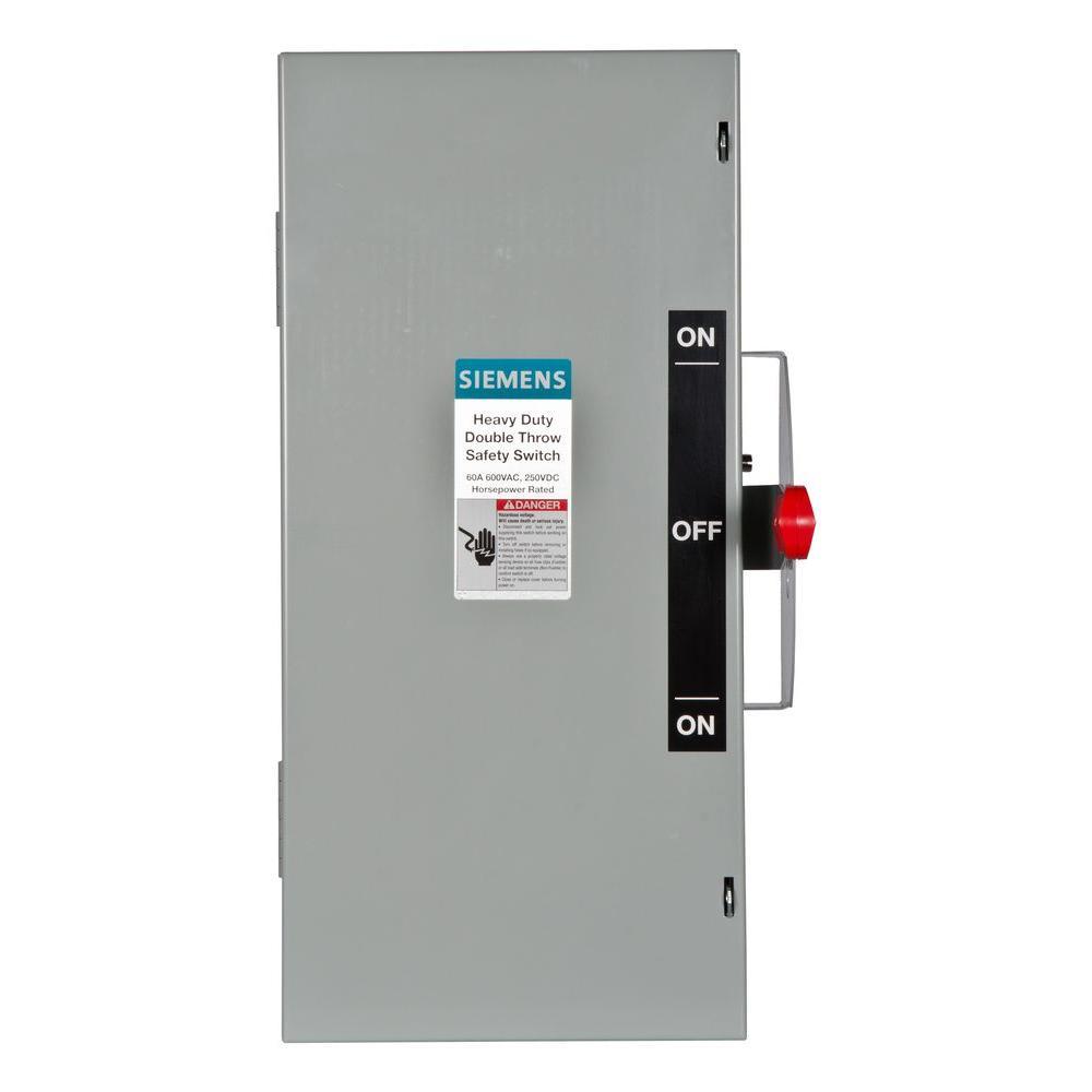 Siemens Double Throw 60 Amp 600 Volt 3 Pole Indoor Non