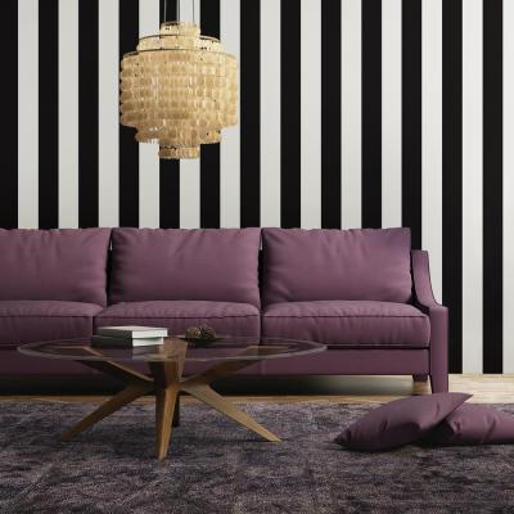 Mini Stripes Black Self-Adhesive Removable Wallpaper