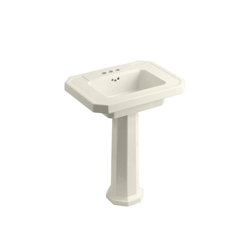 Kohler Kathryn Ceramic Pedestal Combo Bathroom Sink In Biscuit With Overflow Drain K 2322 4 96
