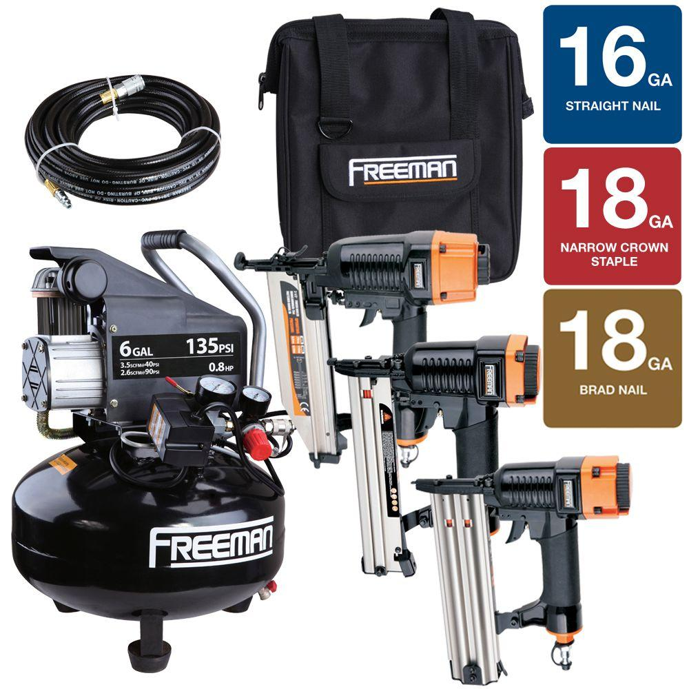 Freeman (6-Piece) Finish and Trim 6 gal. Compressor Combo Kit