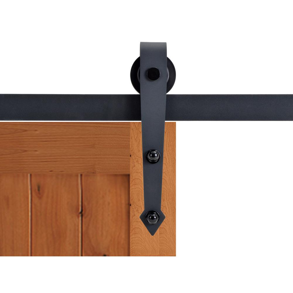 Wall mount sliding door hardware set - 72 In Matte Black Vintage Arrow Barn Style Sliding Door Track And Hardware Set